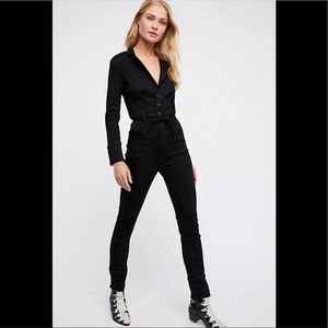 Free People Take Me Out Black Jumpsuit 2 small